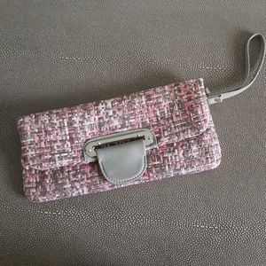 Pink and grey wrist clutch